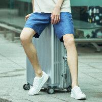 【1件2.5折到手价:84.8】MECITY男装亚麻青春休闲短裤男