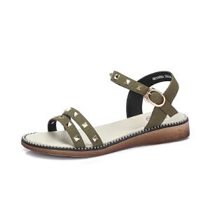 骆驼女鞋2018夏季新款时尚个性铆钉亮珠饰舒适凉鞋女潮港味chic风