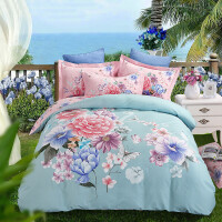 磨毛四件套向日葵花床单被套1.5m床品1.8m床加厚棉床上用品 浅蓝色 百花争芳