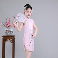 儿童旗袍夏季女童唐装公主裙中国风丝绸清凉亲肤古典乐器演出服短