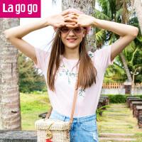 【5折价121.5】Lagogo/拉谷谷2018夏季新款少女粉刺绣钉珠花朵女T恤HATT314M02