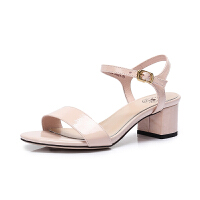 camel 骆驼女鞋 夏季新款 真皮中跟凉鞋纯色舒适漆皮粗跟鞋女凉鞋女