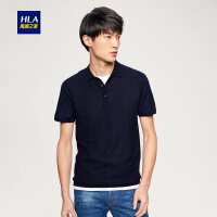 HLA/海澜之家简约净色短袖针织衫2018夏季新品舒适短袖polo衫男