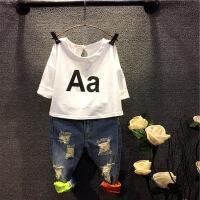童装男宝宝夏装套装短袖夏 儿童牛仔短裤两件套T恤