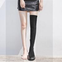 过膝长靴长筒靴子女秋冬季2018新款厚底百搭增高显瘦高筒弹力女靴SN0849