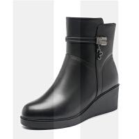 妈妈短靴女冬季中年保暖坡跟加绒加厚中老年棉靴全羊毛一体大棉鞋SN4000 黑色