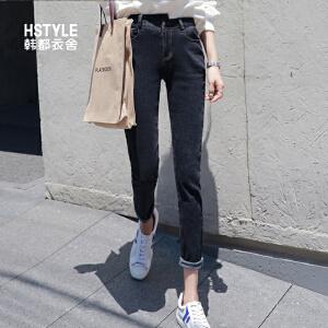 【1件3折:107.4元】韩都衣舍2019韩版女装春装新款高腰弹力深色长裤牛仔裤NG9422�S