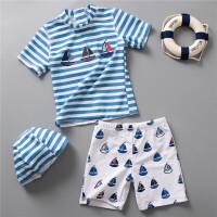 男童条纹分体泳衣儿童泳衣泳装小清新儿童泳衣