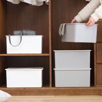 加厚塑料收纳箱整理箱有盖衣物收纳盒大号玩具箱子衣服被子储物箱