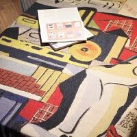 抽象印花桌布布�棉麻加厚餐桌布 阿��法