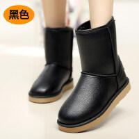 冬季加厚加绒雪地靴女中筒靴百搭韩版防滑保暖防水皮面鞋