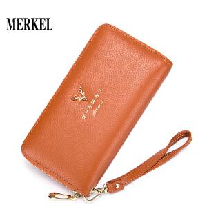 莫尔克 时尚小清新小鹿长款女士真皮钱包新款女韩版多卡位钱夹潮手拿包