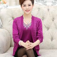 妈妈装秋装针织衫两件套中老年女装时尚绣花外套中年女士衣服45岁