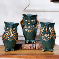 家庭酒柜创意客厅摆件装饰品 猫头鹰软装摆设家居饰品树脂工艺品