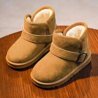 女童靴子2018秋冬季男童雪地靴儿童防水雪地靴保暖加绒棉鞋皮靴子srr mdx85棕色
