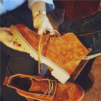 欧洲站秋季新款真皮短靴女布洛克雕花系带马丁靴英伦风舒适女靴子
