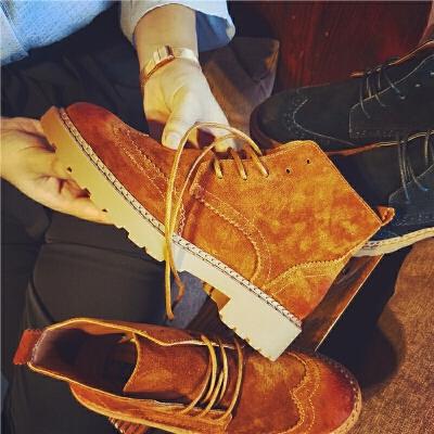 秋季新款真皮短靴女布洛克雕花系带马丁靴英伦风舒适女靴子 发货周期:一般在付款后2-90天左右发货,具体发货时间请以与客服协商的时间为准