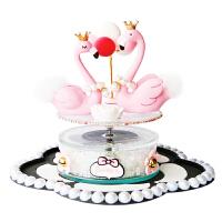新款告白气球火烈鸟太阳能旋转汽车摆件卡通创意车载饰品香水座女 粉红色 火烈鸟套装