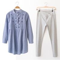 春秋季韩版两件套时尚孕妇装上衣孕妇春装衬衫2018长袖打底衫