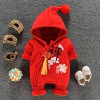 婴儿连体衣服冬装加绒厚女宝宝中国风满月服0-12个月3百天照哈衣6