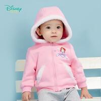 迪士尼Disney童装 女宝宝可爱连帽前开保暖抓绒外套秋季新款婴童衣服 193S1271
