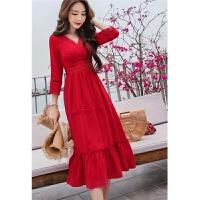 2018春季新款巴厘岛沙滩裙女海边度假显瘦长裙红色V领连衣裙 红色