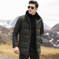 男士冬季加厚保暖白鸭绒立领外套中老年中长款羽绒服男中年爸爸装