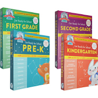 【买一赠一】Get Ready for School Second Grade 幼儿园综合活动家庭启蒙教育教辅4册 可撕页 形状颜色科学四季 语法科学加减法 数学时间 英文原版绿山墙 入学准备