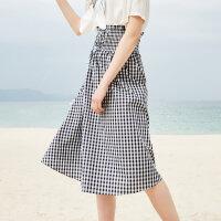【全场2件2.5折,到手价:29.8】美特斯邦威格子半身裙女温柔长裙子沙滩裙仙夏装新款商场款