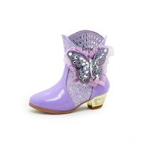 女童短靴加绒冬鞋皮鞋2018新款可爱小公主保暖中大童儿童高跟靴子软底 紫色 闪钻蝴蝶
