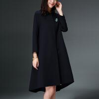 气质直身型毛呢大衣女长款西装领纯色文艺双面呢双面绒羊毛呢冬宽松