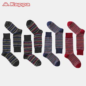 Kappa/卡帕(4双装)家居长袜不脱鞋条纹四季长筒男袜KP8W0104A