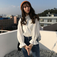 2018春装韩版chic清新木耳边领口喇叭袖长袖衬衫打底衫女装学生潮