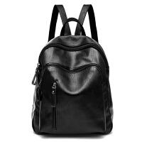 背包女士双肩包韩版2017新款潮百搭时尚休闲PU软皮书包旅行包包夏 黑色