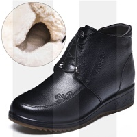 ����鞋棉鞋冬季雪地短靴真皮羊毛加�q保暖中老年人棉靴皮鞋女鞋子SN0121