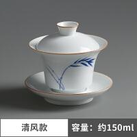 盖碗茶杯 景德镇脂白三才盖碗陶瓷敬茶碗 功夫茶具泡茶碗
