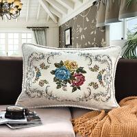 沙发抱枕雪尼尔抱枕靠垫含芯布艺靠长方形大号沙发靠垫套 白色 锦绣年华