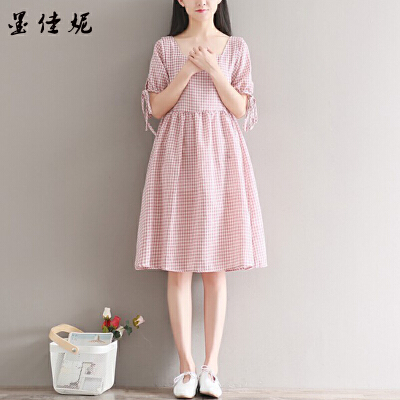 中长款上衣潮妈格子孕妇春装连衣裙孕妇装夏装新款2018韩版宽松