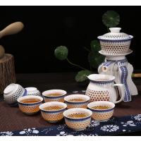 【支持礼品卡】全自动茶具整套装陶瓷玲珑镂空透明青花瓷半自动泡茶器7ei