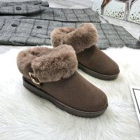 棉鞋女冬季韩版百搭加绒保暖雪地靴女学生平底短筒靴子潮