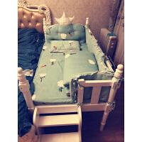 W 欧式婴儿床欧式实木白色儿童床带护栏男孩女孩婴儿床拼接加宽床宝宝床可定做D15 其他