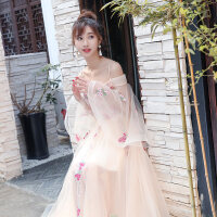 宴会晚礼服2018新款新娘婚纱毕业礼服裙公主长款女端庄大气拖尾 香槟色