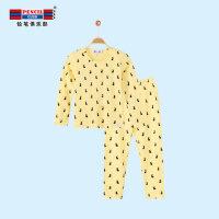 【3折到手价:35.7】铅笔俱乐部女童2018夏季新款套装长袖长裤两件套套装中大童家居服