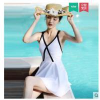 游泳衣女士保守连感小胸聚拢泳衣体泳装遮肚泡温泉裙式平角显瘦性