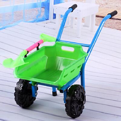 爆款儿童手推车宝宝沙滩玩具加大加厚双轮单轮推土车小孩玩沙玩具