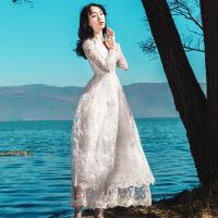 春季新款女复古气质修身蕾丝网纱连衣裙海边度假仙气显瘦沙滩长裙 气质白