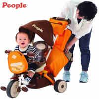 日本PEOPLE多功能儿童三轮车婴儿推车宝宝出行车满月礼8个月-8岁