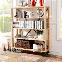 奇居良品 工业风实木利来国际ag手机版汉尼顿铁艺带滚轮开放式展示柜书柜架B款
