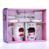 创意潮流情侣杯子一对个性喝水茶杯陶瓷马克杯可爱咖啡水杯带盖勺