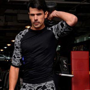 野豹纹男士紧身塑身塑型轻压舒适透气速干运动短袖MA37